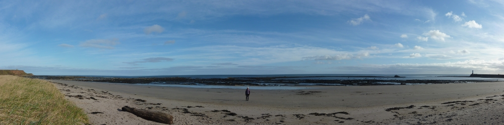Stitched panorama of the beach at Berwick.