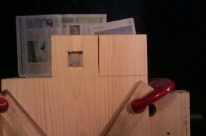 Cutting the first shelf tenon joint