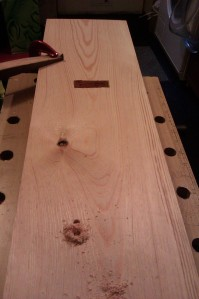 Cutting the holes in the uprights